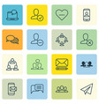 set of 16 social icons includes society startup vector image