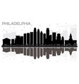 philadelphia city skyline black and white vector image