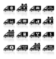 Set of Cargo trucks black icons vector image