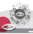 Hand drawn eye icons with icons background vector image