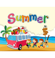 Summer theme with children on the beach vector image