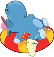 A little hippo and an inflatable swimming ring vector image