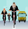 Businessman riding bicycle to work vector image