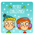 cartoon couple Christmas greeting card design vector image