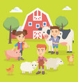 caucasian children playing with farm animals vector image