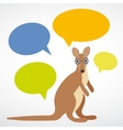Funny kangaroo with colorful speech bubbles on vector image