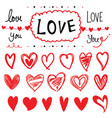 heart set of design elements cartoon vector image