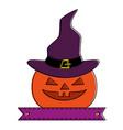 pumpkin hallooween with hat witch decorative icon vector image