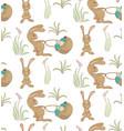 rabbits ith basket pattern vector image