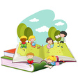 Many children reading books in the park vector image