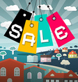 Sale Label with Houses and Field on Backgrou vector image