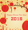 Happy Chinese New Year 2016 Card and lighting vector image