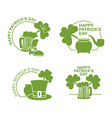 Happy Patricks day emblem Set Green clover and vector image
