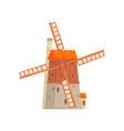 ancient windmill medieval building cartoon vector image
