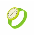 Green wrist watch icon cartoon style vector image