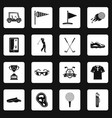 golf items icons set squares vector image