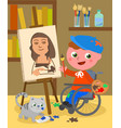 disabled painter studio vector image