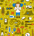 Seamless pattern with adventure equipment vector image