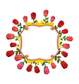 Retro frame of roses Vintage flowers vector image