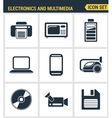 Icons set premium quality of home electronics and vector image
