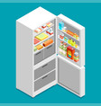isometric fridge flat icon vector image