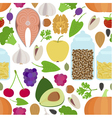 Seamless healthy food pattern vector image