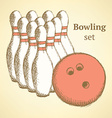 Sketch bowling set in vintage style vector image