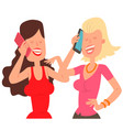 two girl friends character talking his cell phone vector image