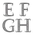 E F G H vintage patterned letters Font in floral vector image