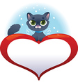 Greeting cards with heart and cat vector image