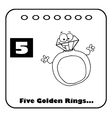 Five golden rings cartoon vector image