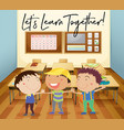 happy children learn in classroom vector image vector image