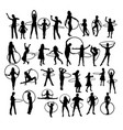girl with hula hoop silhouettes vector image