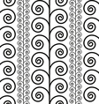 Curly floral seamless pattern black and white vector image