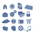 blue technology icon set vector image