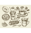 Drinks and food Hand drawn coffee tea cup vector image