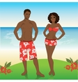 Man and woman in beach shorts on the beach vector image