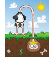Ostrich Head In The Ground Cartoon Character vector image