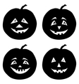 Pumpkins Jack O Lantern silhouettes vector image
