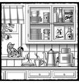 Retro kitchen black and white vector image