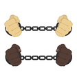 Male hands in strained steel handcuffs vector image