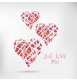 Handdrawn painted hearts card for vector image vector image