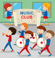Children in the band marching vector image