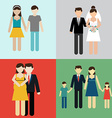 Family flat icons set with married couples parents vector image