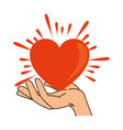 hands human protection with heart vector image