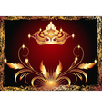 Luxurious copper ornament and crown vector image