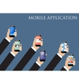 Mobile application concept Hands holding phones vector image