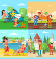 people on nature square concept vector image