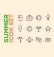 set summer beach icons cocktail icons sun ice vector image