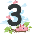 Collection number for kids farm animals - number 3 vector image